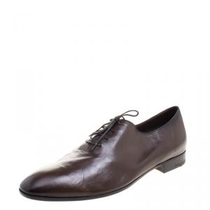Berluti Two Tone Brown Lambskin Lace Up Oxfords Size 45