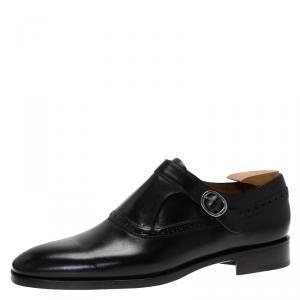 Berluti Black Leather Brogue Monk Shoes Size 44.5