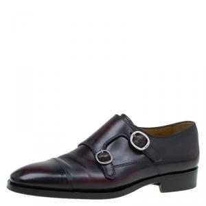 Berluti Burgundy Shaded Leather Monk Strap Shoes Size 43