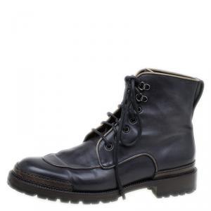 Berluti Black Leather Combat Boots Size 43