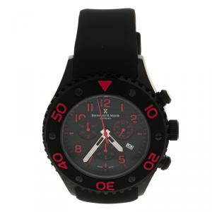 Bernhard H Mayer Black & Red Hugo Chronograph Men's Wristwatch 48M