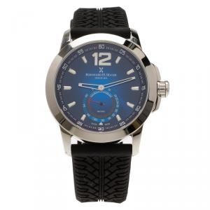 Bernhard H Mayer Blue Stainless Steel Black Silicone Drift Men's Wristwatch 44MM
