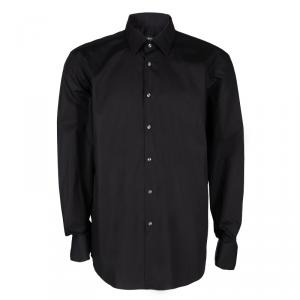Boss By Hugo Boss Black Cotton Regular Fit Long Sleeve Button Front Shirt 4XL