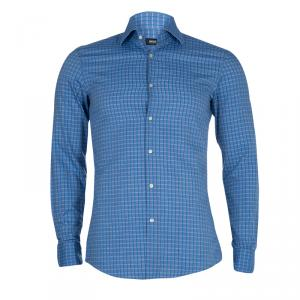 Boss By Hugo Boss Blue Checked Slim Fit Shirt S