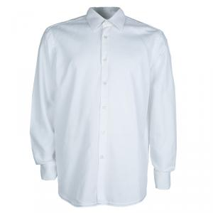 Boss by Hugo Boss Textured White Long Sleeve Buttondown Cotton Shirt L