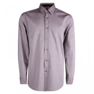 Boss By Hugo Boss Purple Two Tone Regular Fit Cotton Shirt 2XL