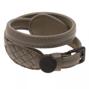 Bottega Veneta Beige Double Wrap Around Intrecciato Leather Bracelet Size XS