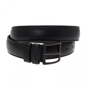 Bottega Veneta Black Leather Intrecciato Loop Belt 95CM