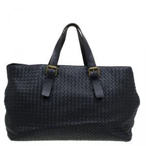 Bottega Veneta Black Intrecciato Woven Leather Tote
