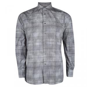 Bottega Veneta Grey Printed Cotton Long Sleeve Button Front Shirt L
