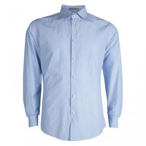 Bottega Veneta Blue Long Sleeve Button Front Cotton Shirt L