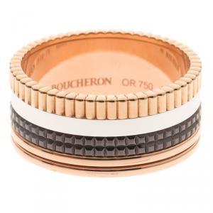 Boucheron Classique Quatre Three Tone 18k Gold & Brown PVD Large Ring Size 69