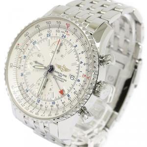 Breitling Silver Stainless Steel Navitimer World Men's Wristwatch 46MM