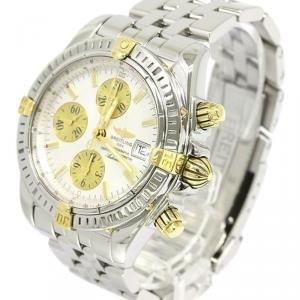 Breitling Silver 18K Yellow Gold and Stainless Steel Chronomat Evolution Men's Wristwatch 44MM