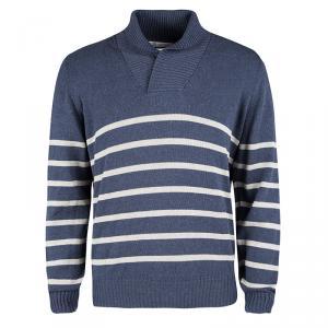 Brunello Cucinelli Blue and White Nautical Striped Cotton Sweater XL