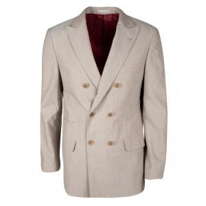 Brunello Cuccinelli Beige Cotton Double Breasted Blazer L