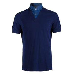Brunello Cucinelli Blue Mock Shirt Layer Short Sleeve Sweater XXL
