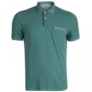 Brunello Cucinelli Green Knit Slim Fit Polo T-Shirt M