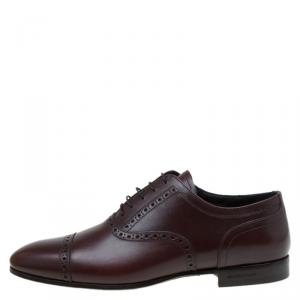 Burberry Brown Brogue Leather Markwell Lace Up Oxfords Size 41