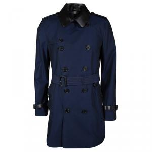 Burberry London Two Tone Leather Trim Detail Double Breasted Belted Trench Coat L