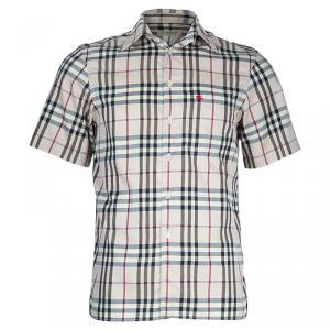 Burberry Beige Novacheck Short Sleeve Button Down Shirt S