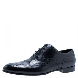 Burberry Black Patent Brogue Leather Leicester Wingtip Oxfords Size 43