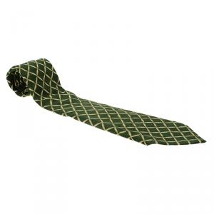Bvlgari Green and Beige Printed Silk Tie