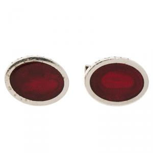 Bvlgari Red Enamel Guilloché Engraved Silver Cufflinks