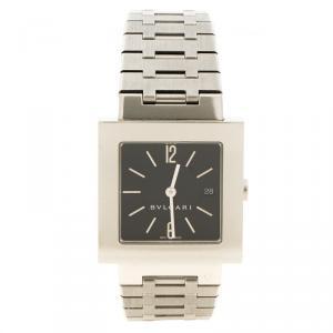 Bvlgari Black Stainless Steel Quadrato Men's Wristwatch 29mm