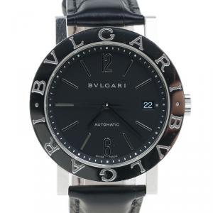 Bvlgari Black Stainless Steel Bvlgari Men's Wristwatch 38MM