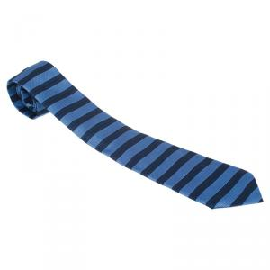CH Carolina Herrera Light Blue and Navy Blue Striped Silk Tie