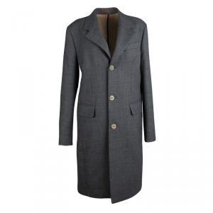 CH Carolina Herrera Grey Wool Notched Collar Overcoat S