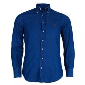 CH Carolina Herrera Men's Blue Denim Shirt S