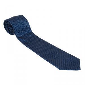 Chanel CC Blue Textured Silk Tie
