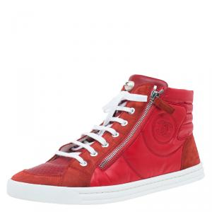 Chanel Red Leather and Suede Perforated CC Logo High Top Sneakers Size 42
