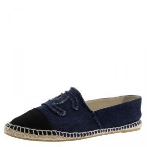 Chanel Black and Blue Canvas CC Espadrilles Size 41