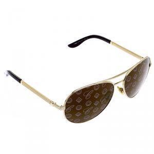 Chopard Gold SCH763 Monogram Lenses Unisex Aviators Sunglasses
