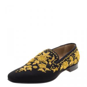 Christian Louboutin Black Embroidered Academicus Crepe de Chine Smoking Slippers Size 44