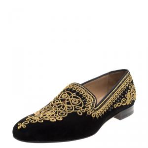 Christian Louboutin Black Cord Embroidered Suede Mamounia Smoking Slippers Size 44.5
