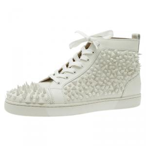 Christian Louboutin White Leather Louis Spikes Lace Up High Top Sneakers Size 43.5