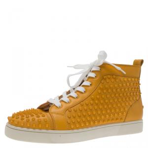 Christian Louboutin Yellow Spike Leather Louis High Top Sneakers Size 43.5