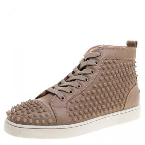 Christian Louboutin Beige Leather Louis Spike High Top Sneakers Size 41