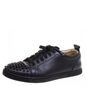 Christian Louboutin Black Leather Gondolaclou Spike Lace Up Sneakers Size 42.5