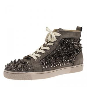 Christian Louboutin Grey Multi Level Spiked Suede Pik Pik Louis High Top Sneakers Size 43