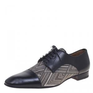 Christian Louboutin Black Leather And Canvas Bruno Orlato Oxfords Size 43.5