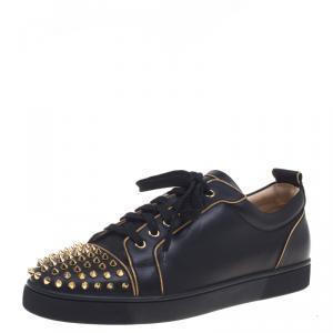 Christian Louboutin Black Leather Rush Spike Lace Up Sneakers Size 43