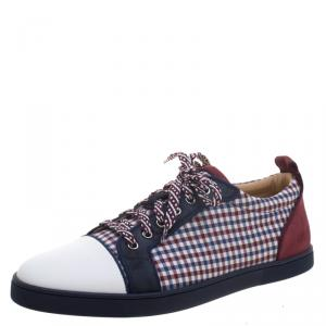 Christian Louboutin Two Tone Leather And Checkered Fabric Low Top Sneakers Size 43.5