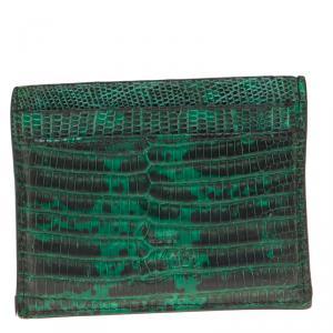 محفظة بطاقات كريستيان لوبوتان كيوس جلد نقشة السحالي أخضر