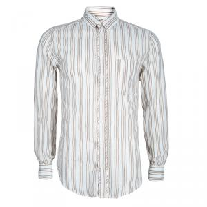 D&G Men's White Striped Cotton Shirt M