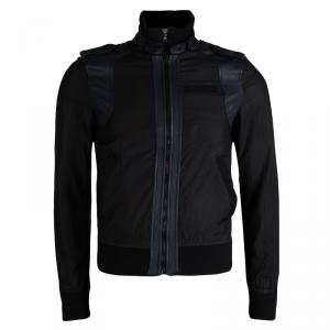 D&G Black Leather Trim Bomber Jacket S
